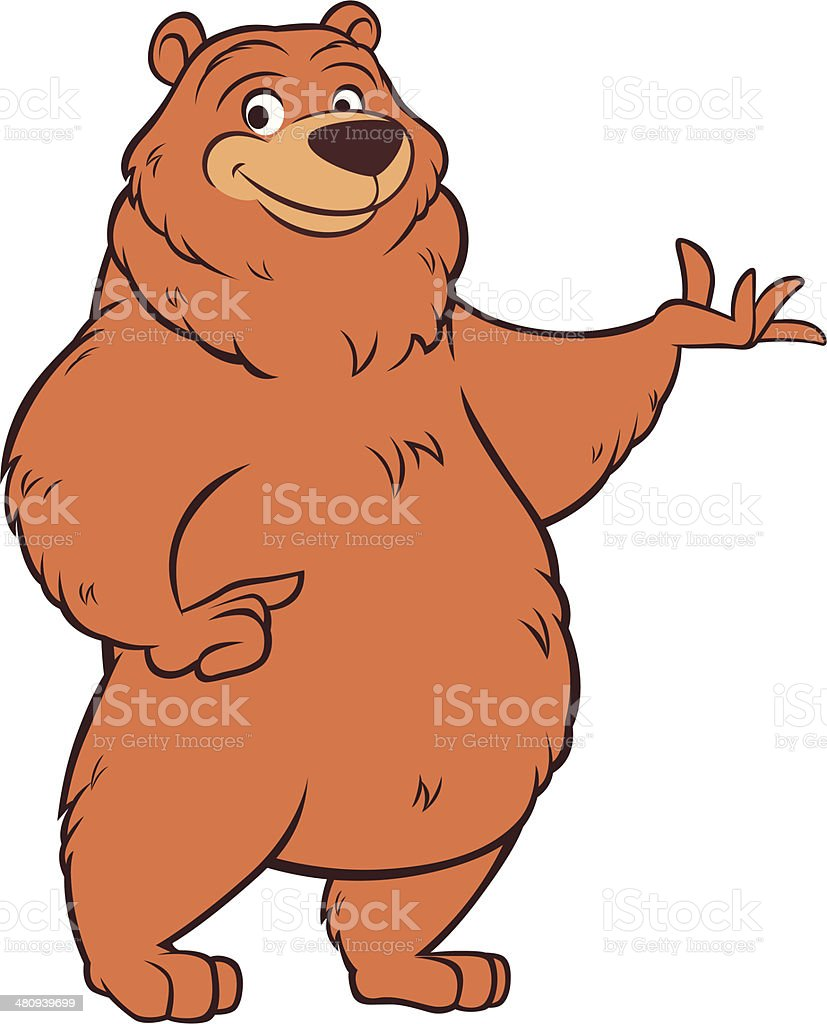 Drawing Of The Brown Bear Standing Clip Art, Vector Images ...