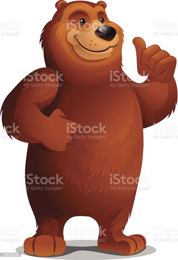 Grizzly Bear: Thumbs Up vector art illustration