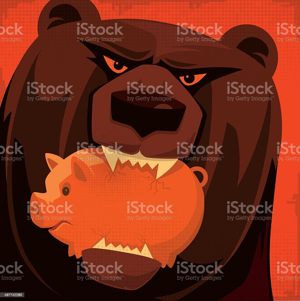 grizzly biting piggy bank vector art illustration