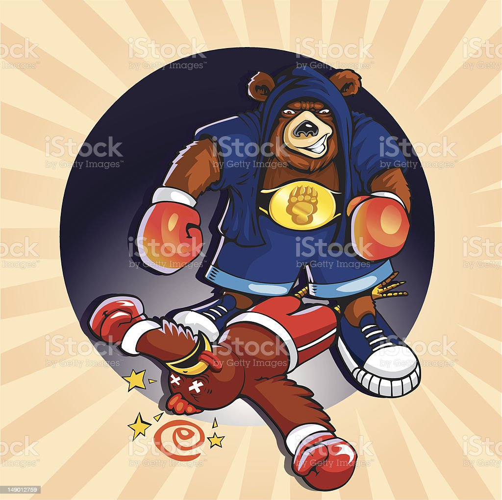 Grizzly Knockout - Vector vector art illustration