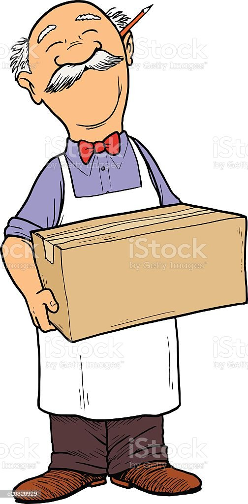 Grocer holding a Box vector art illustration