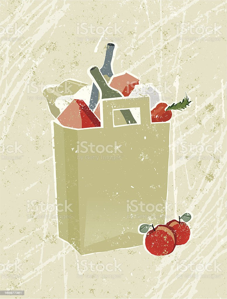 Groceries and food in a Shopping Bag royalty-free stock vector art