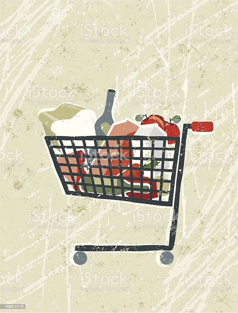Groceries and Food in a Shopping Trolley royalty-free stock vector art