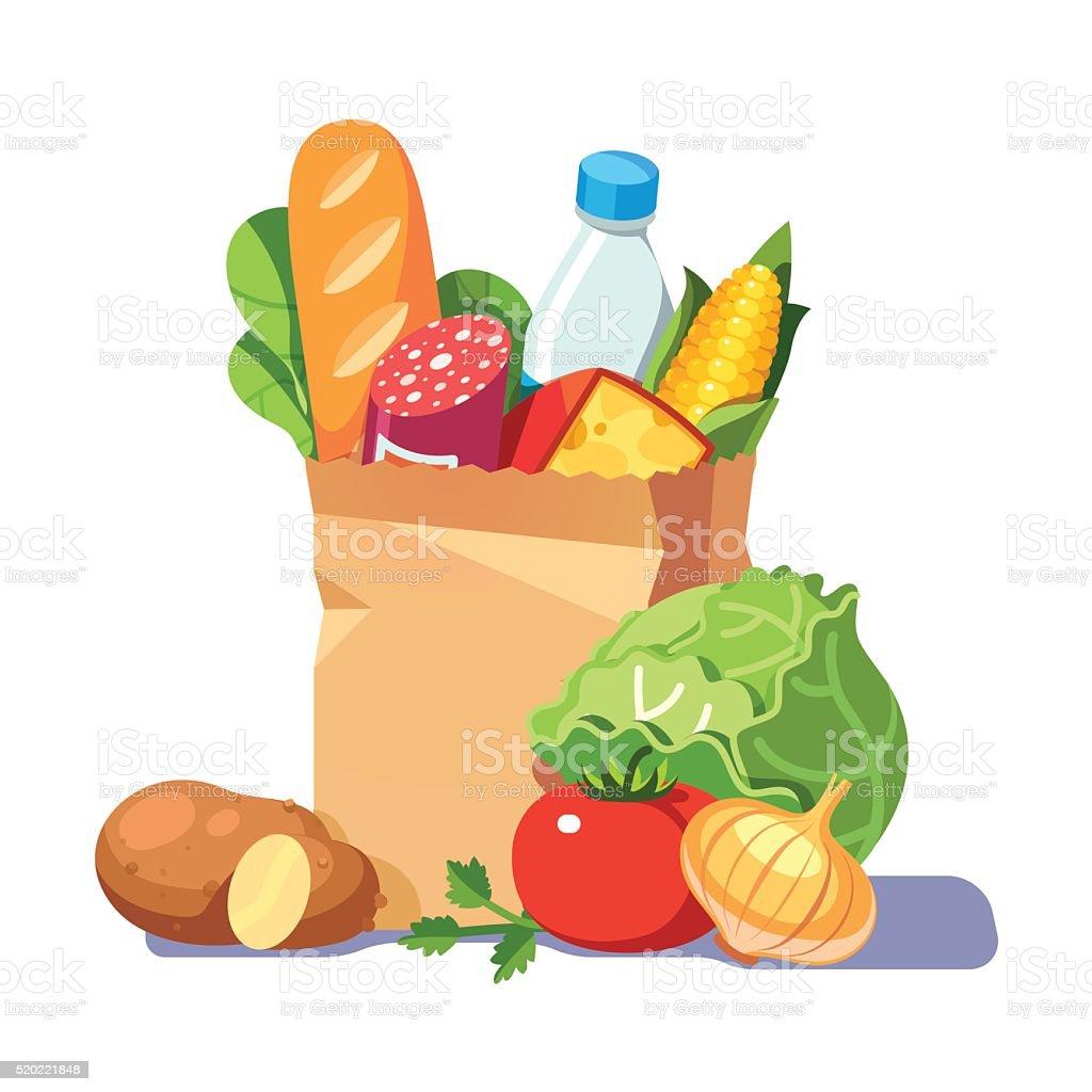 Groceries in a paper bag vector art illustration