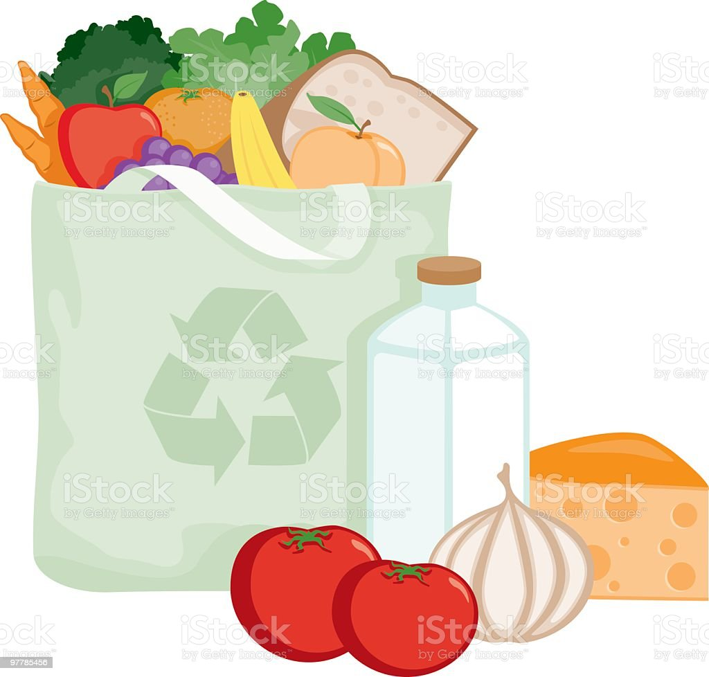 Groceries in an Environmentally Friendly Reusable Cloth Bag vector art illustration