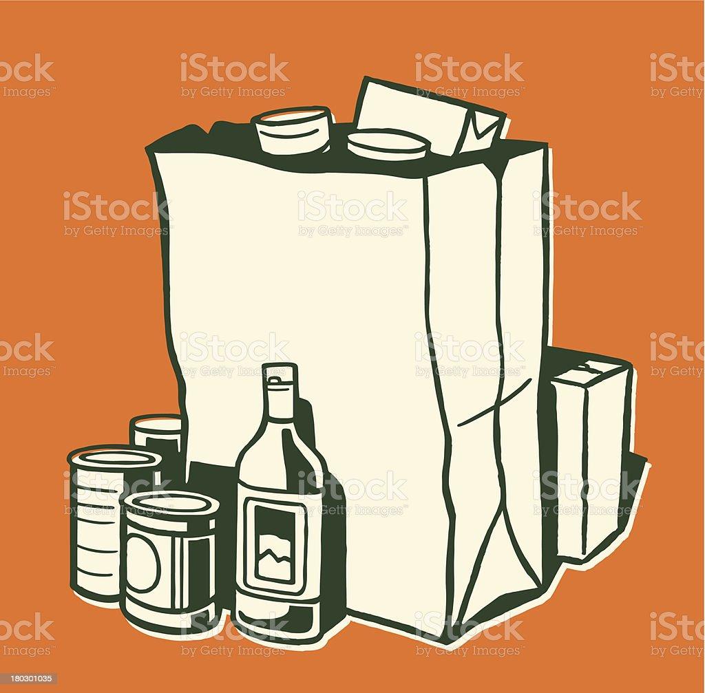 Groceries vector art illustration