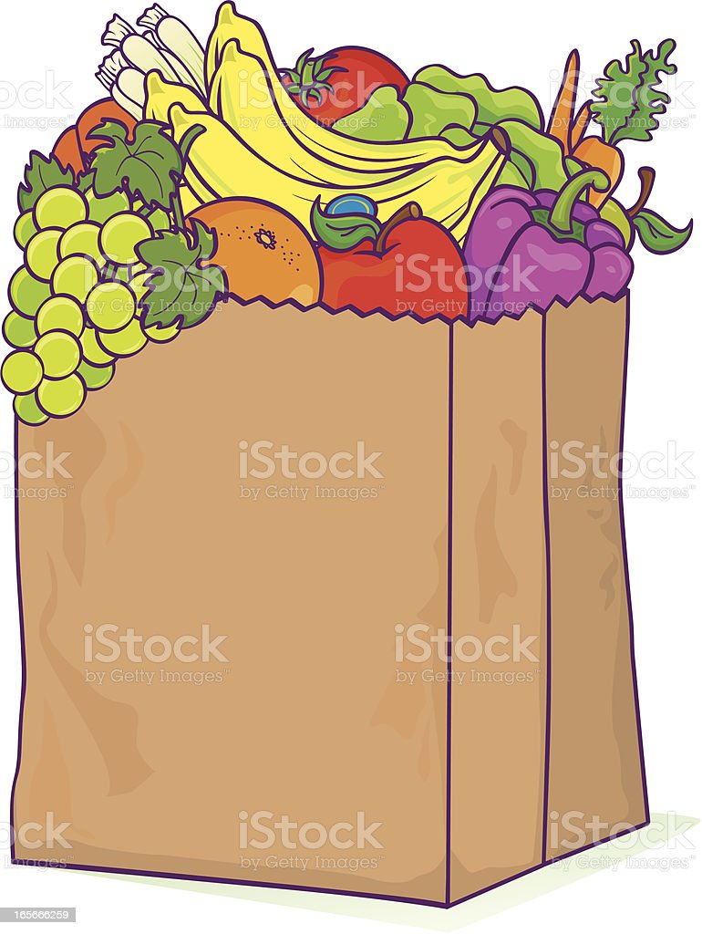 Grocery bag produce royalty-free stock vector art