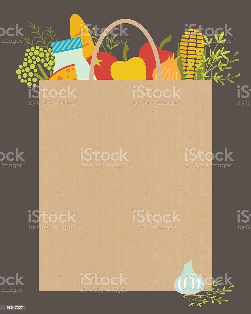 Grocery bag vector art illustration