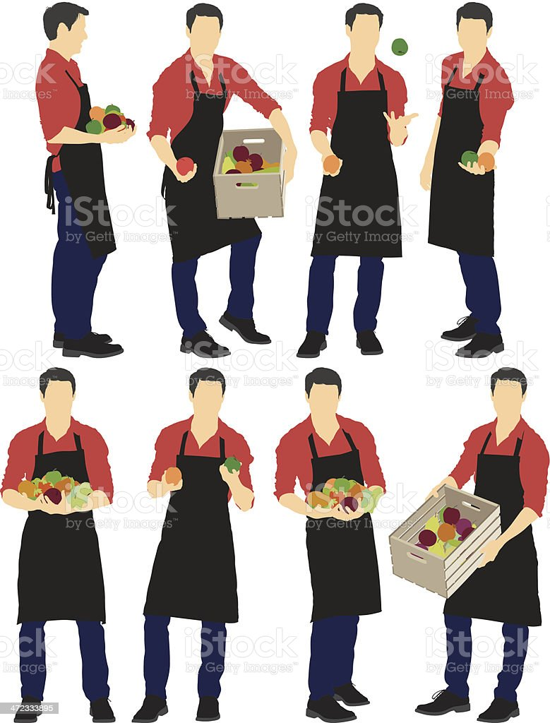 Grocery clerk with fruits vector art illustration