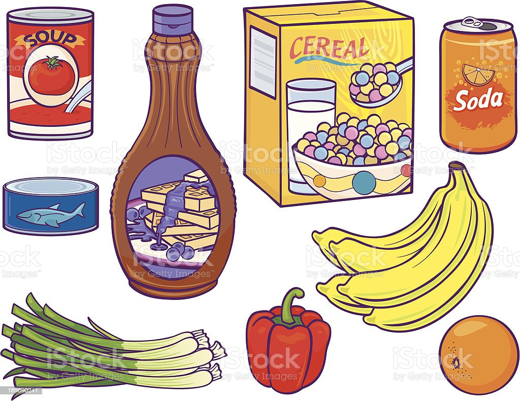 Grocery Food Items vector art illustration