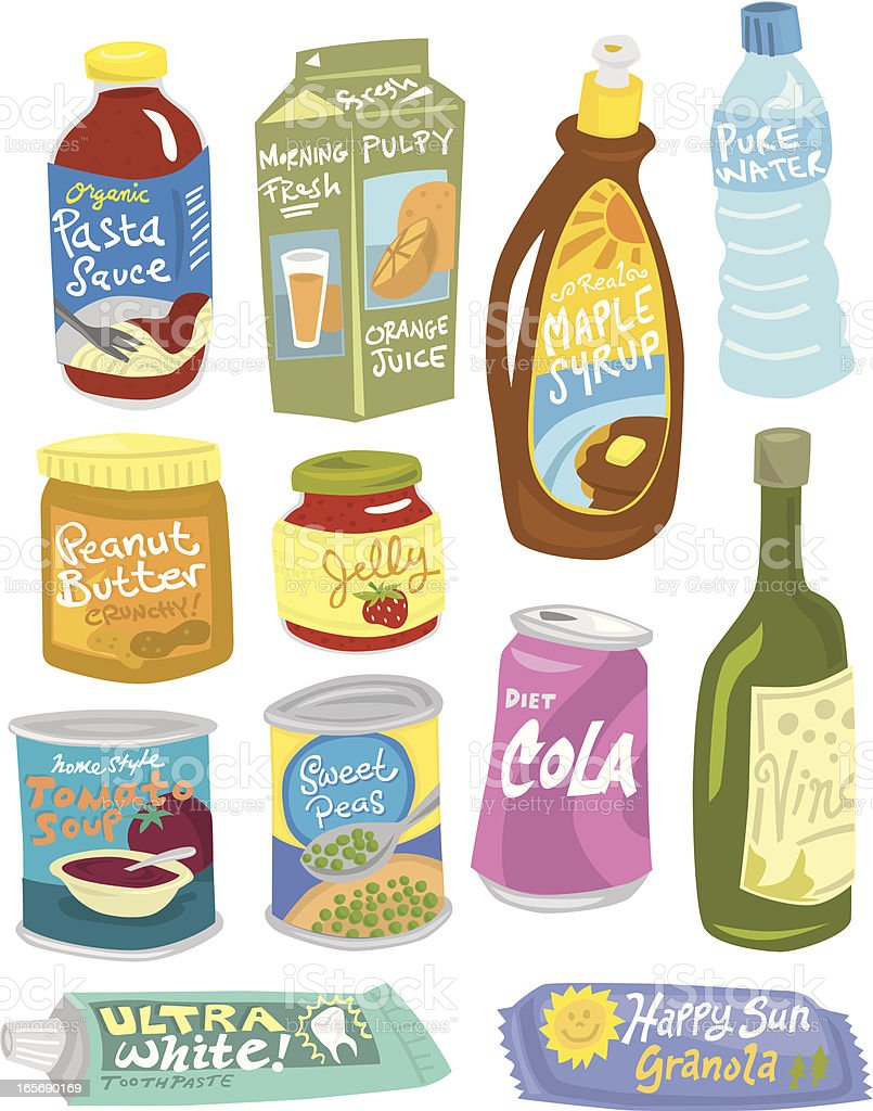Grocery Items vector art illustration