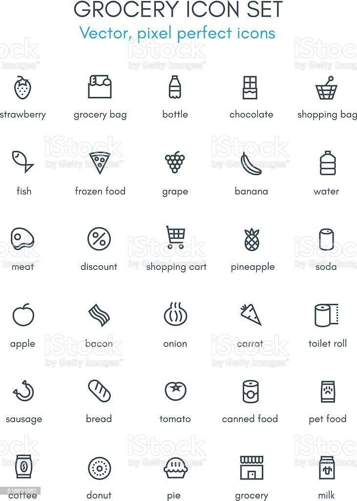 Grocery, market theme line icon set. vector art illustration