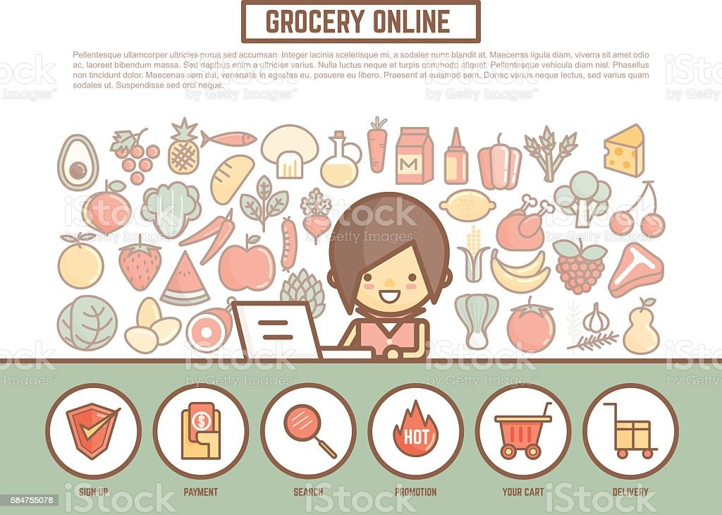 Grocery online shopping banner background cute outline cartoon grocery online shopping banner background cute outline cartoon voltagebd Choice Image