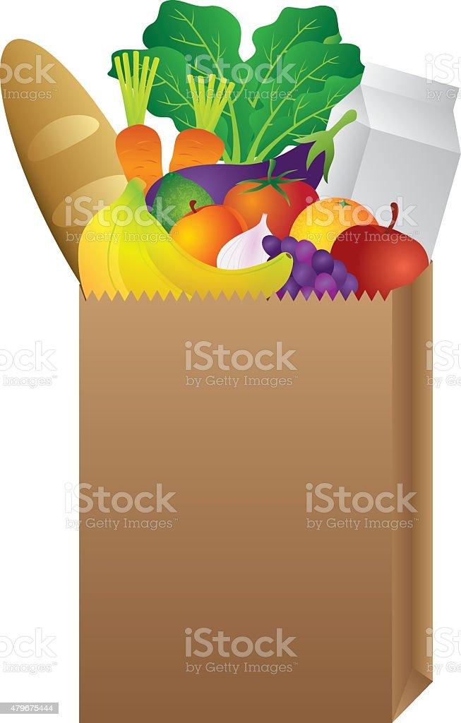 Grocery Paper Bag of Food Vector Illustration vector art illustration