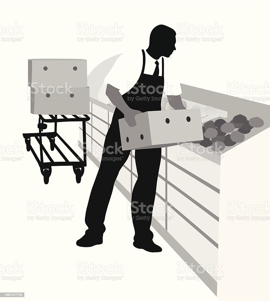 Grocery Shelves Vector Silhouette vector art illustration