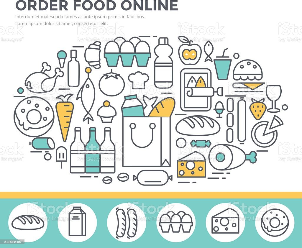 Grocery shopping and food ordering concept illustration. vector art illustration