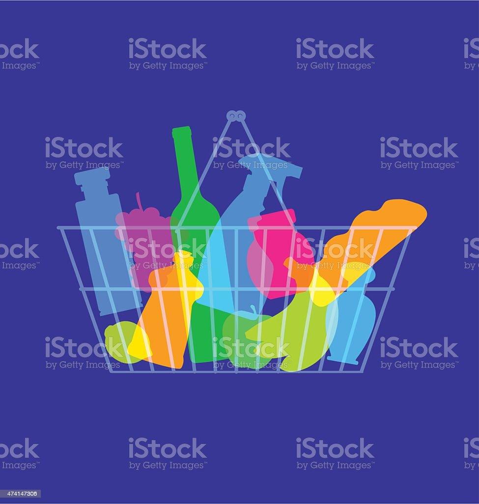 Grocery shopping basket vector art illustration