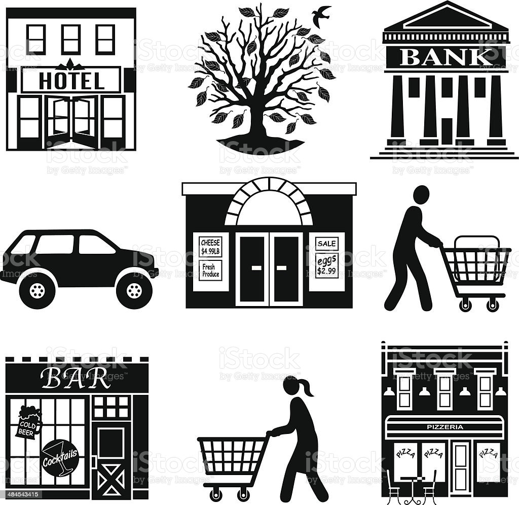 grocery shopping in town vector art illustration