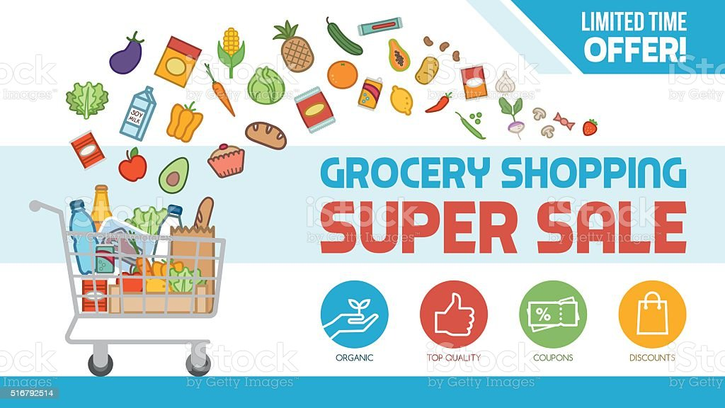 Grocery shopping vector art illustration