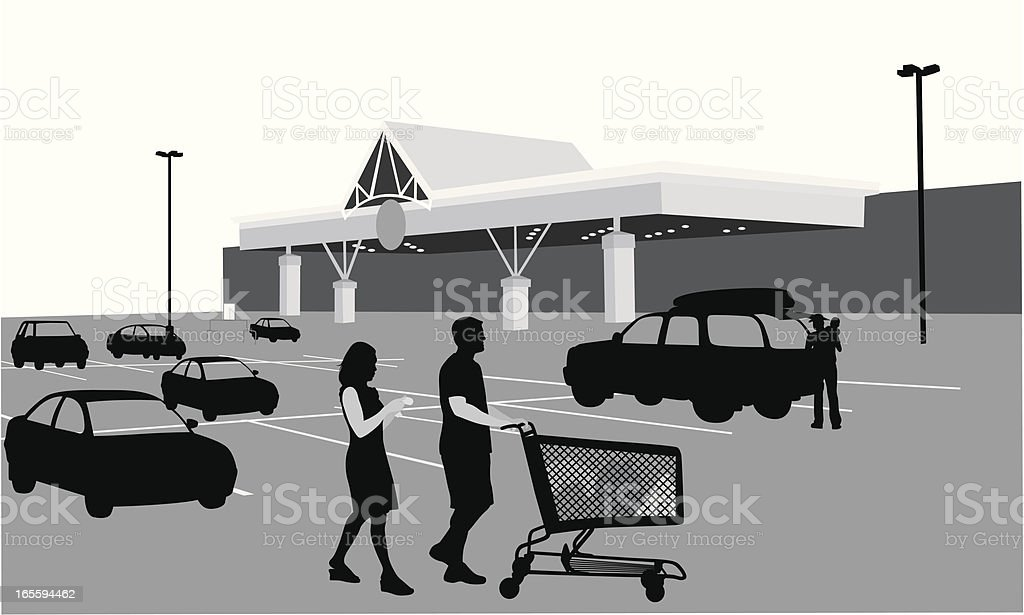 Grocery Shopping Vector Silhouette royalty-free stock vector art