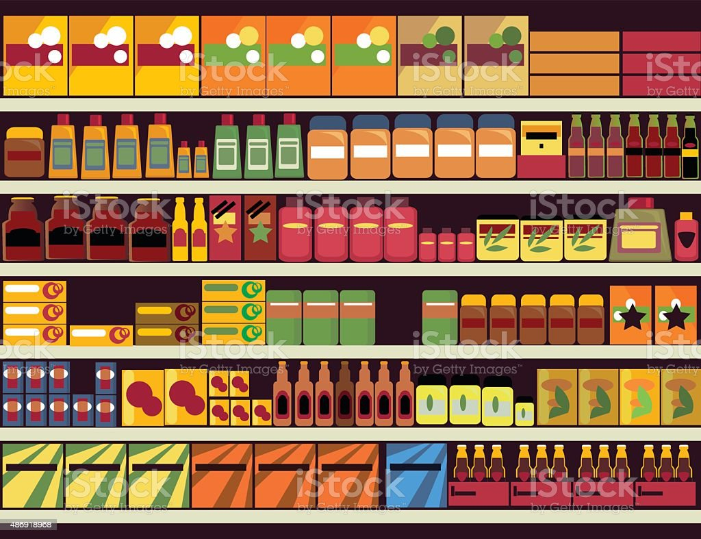 Grocery store background vector art illustration