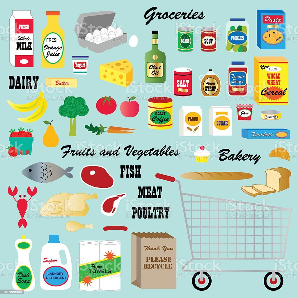 grocery store clipart vector art illustration
