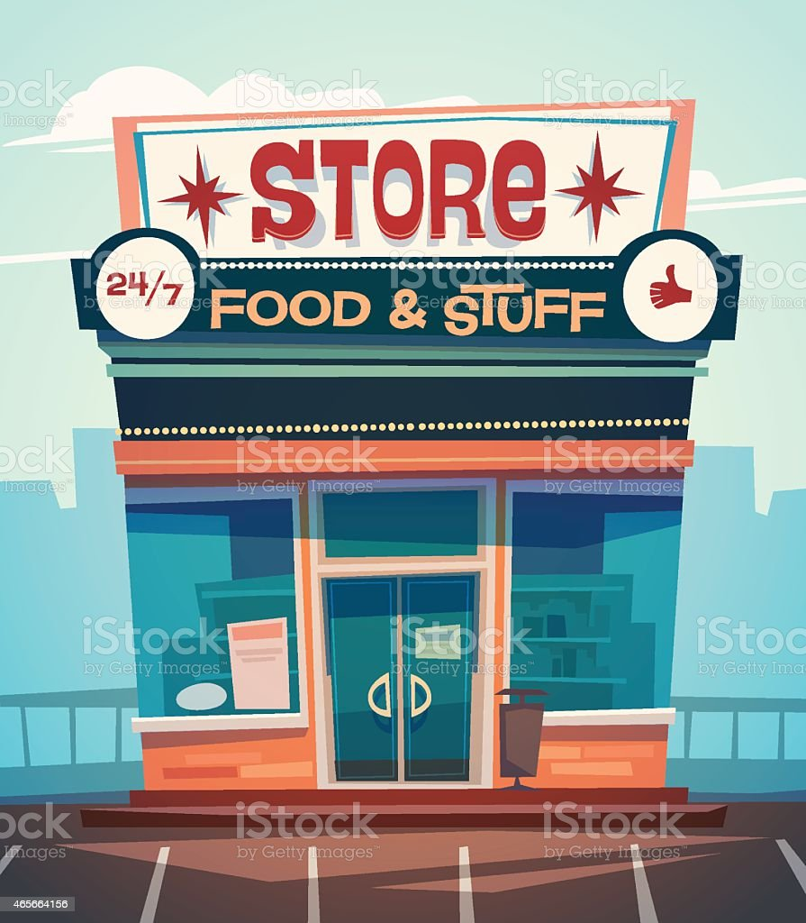 Grocery store facade vector art illustration