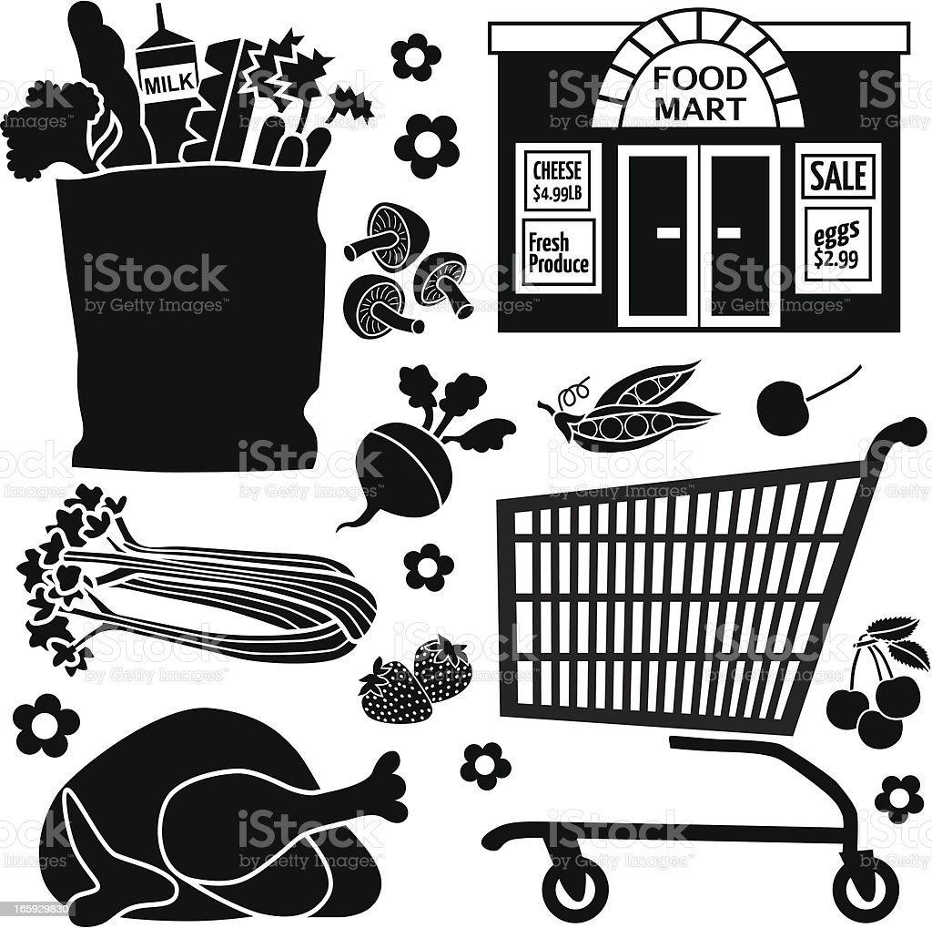 grocery store icons royalty-free stock vector art