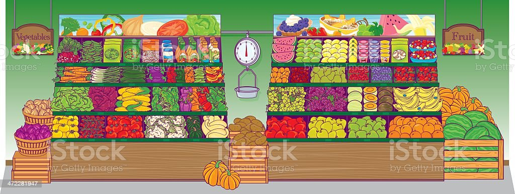 Grocery Store produce vector art illustration