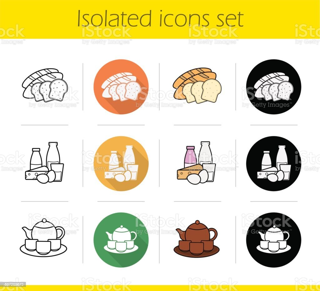 Grocery store products categories icons vector art illustration