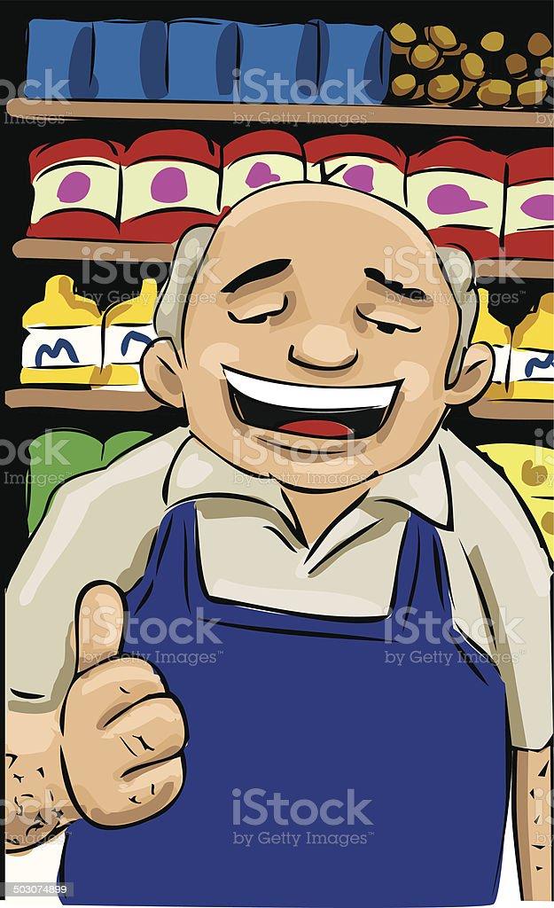 Grocery Store salesman vector art illustration