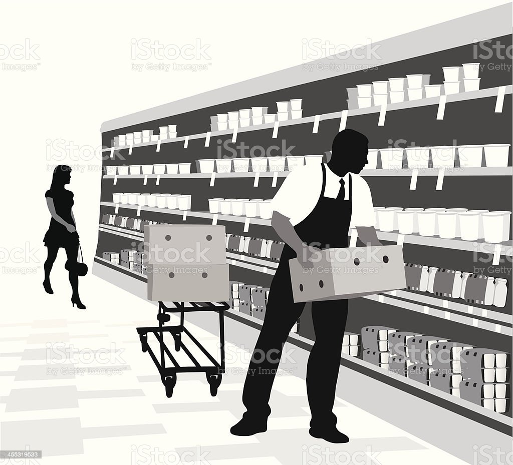 Grocery Store Vector Silhouette vector art illustration