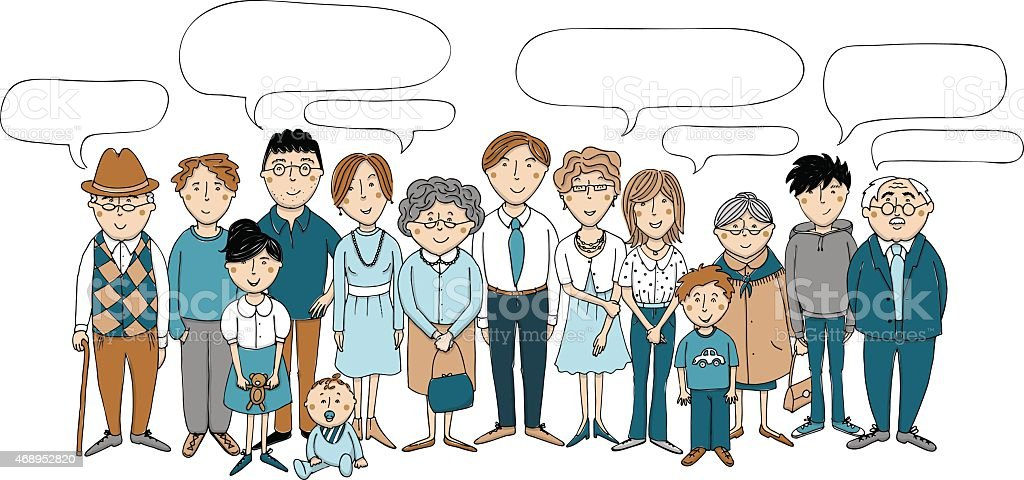 Gro?familie mit Sprechblasen vector art illustration