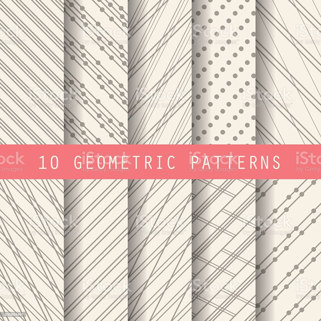 10 grometric formal patterns vector art illustration