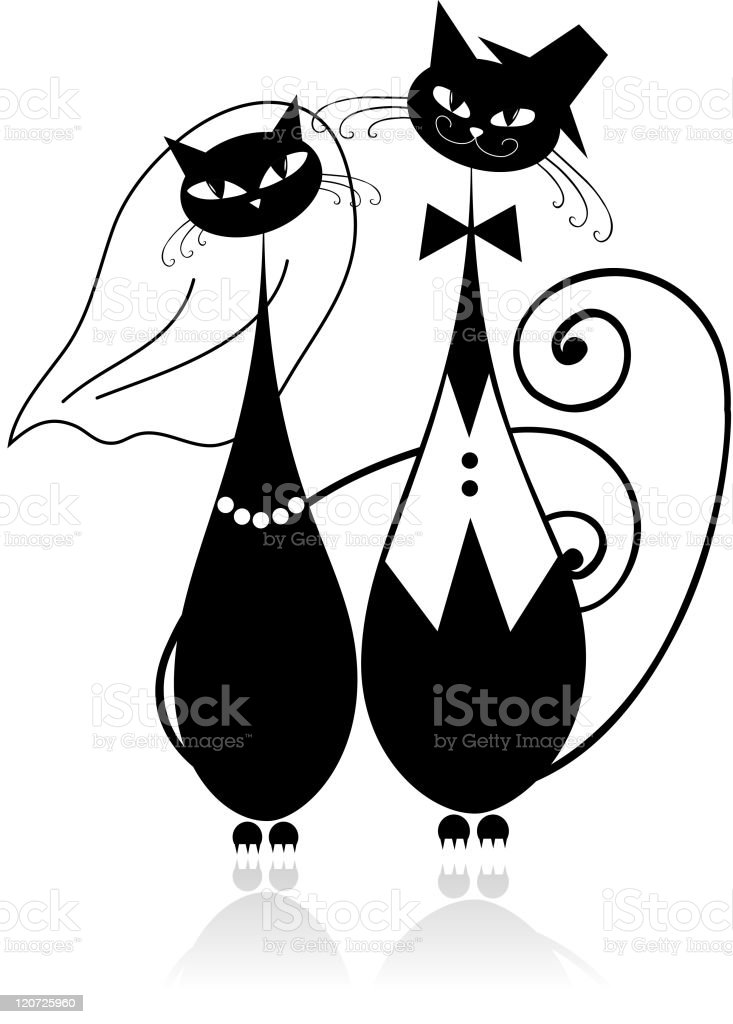 Groom and bride, cat's wedding for your design royalty-free stock vector art