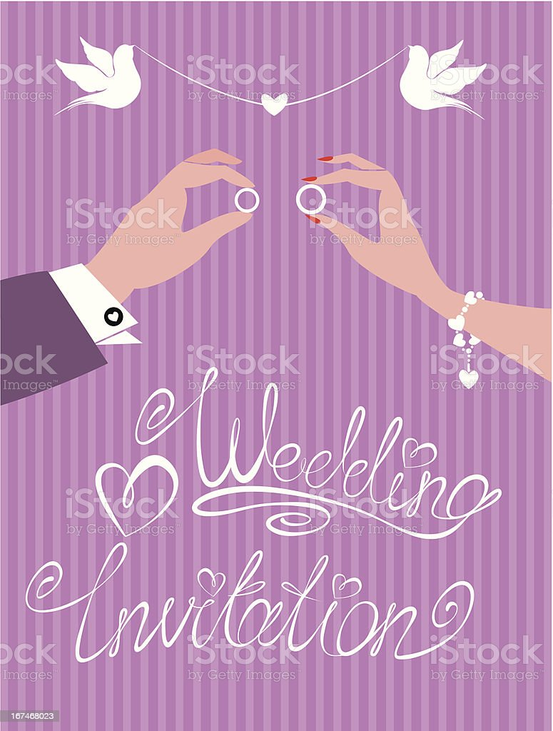 groom and bride hands with wedding rings royalty-free stock vector art