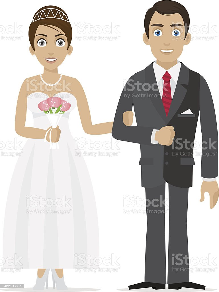 Groom and bride hold hands royalty-free stock vector art