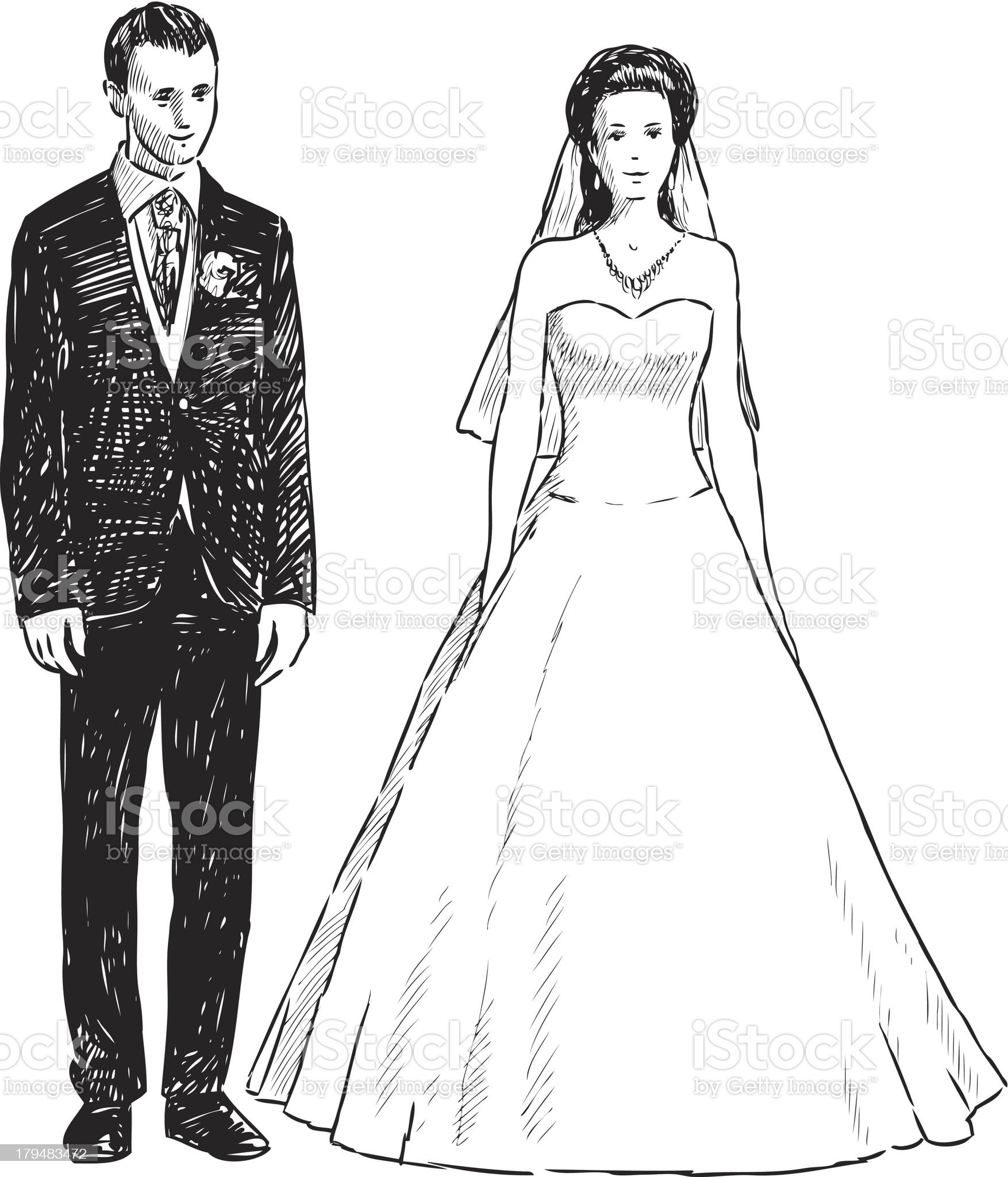 groom and bride royalty-free stock vector art