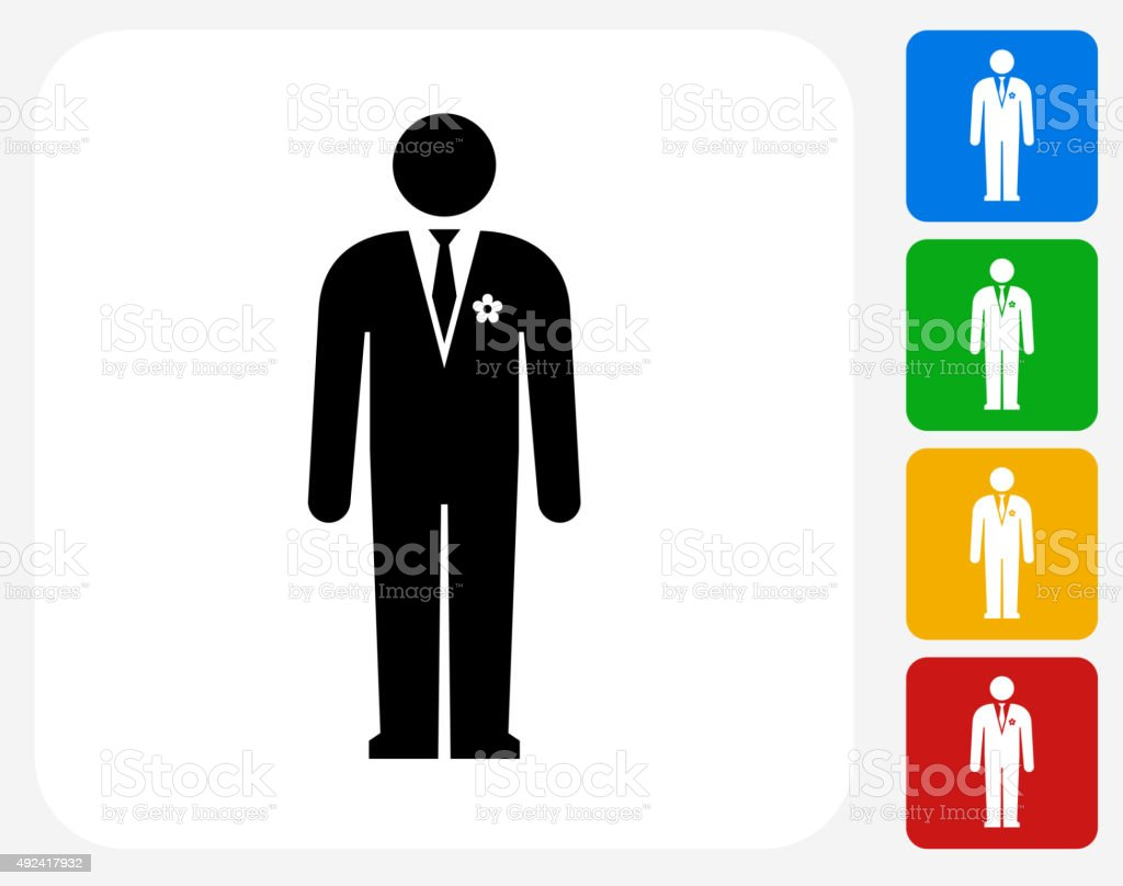 Groom Icon Flat Graphic Design vector art illustration