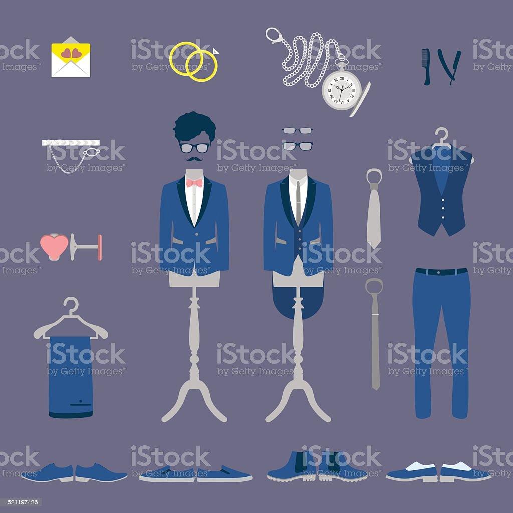 Groom wedding set vector art illustration