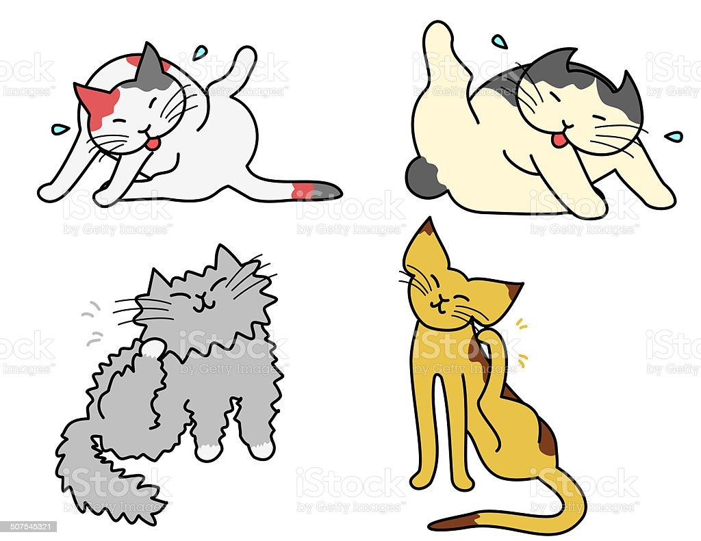 grooming cats vector art illustration