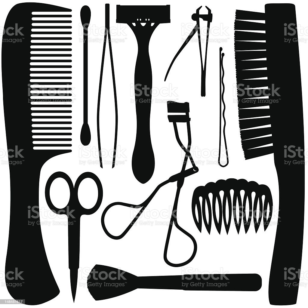 Grooming Tool Silhouettes royalty-free stock vector art