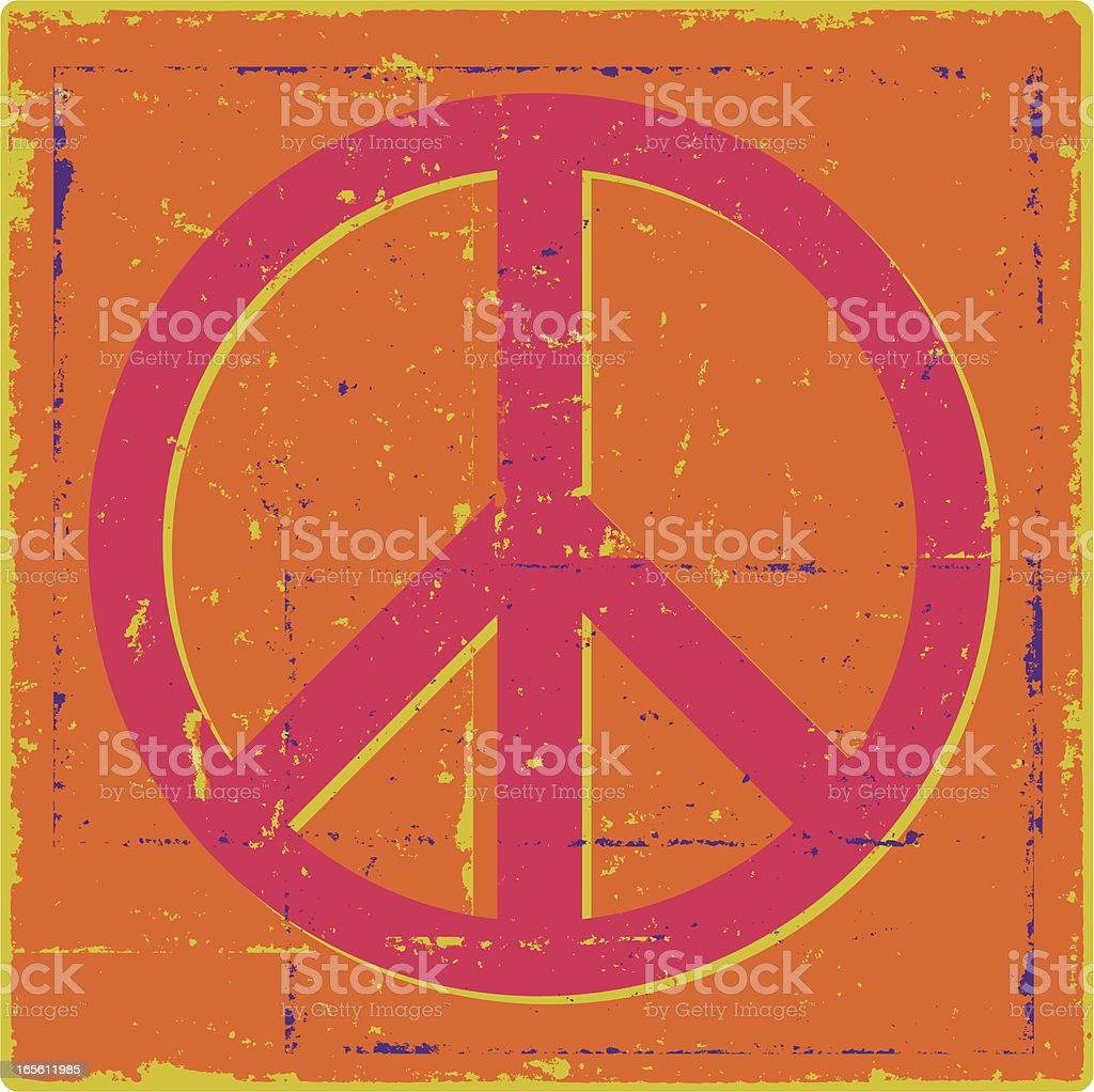 Groovy Grunge Peace Symbol royalty-free stock vector art