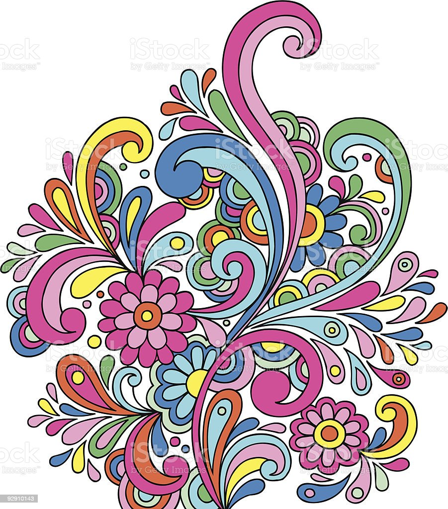 Groovy Psychedelic Abstract Paisley Doodle royalty-free stock vector art
