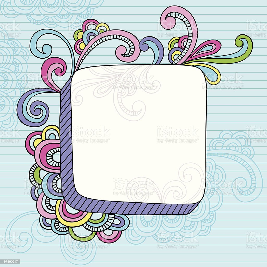 Groovy Psychedelic Notebook Doodle Frame royalty-free stock vector art