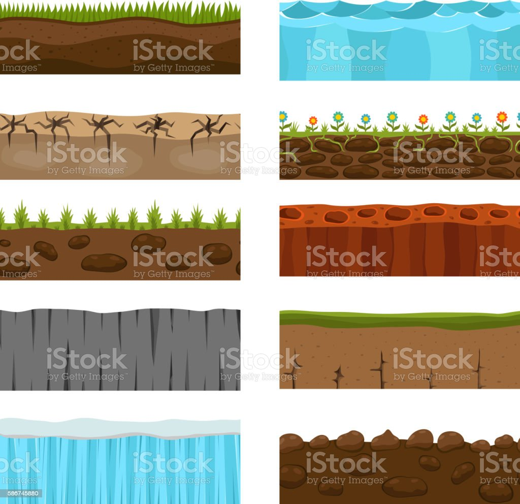 Ground slices vector set. vector art illustration
