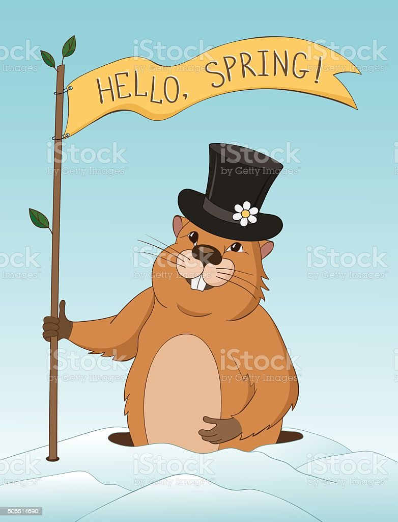 Groundhog Day greeting card. vector art illustration