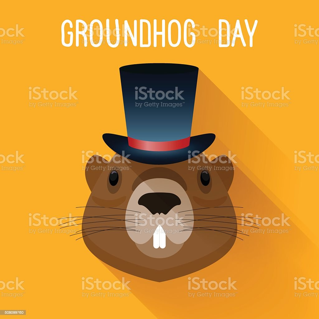 Groundhog in hat. Graundhog day funny cartoon card template. vector art illustration