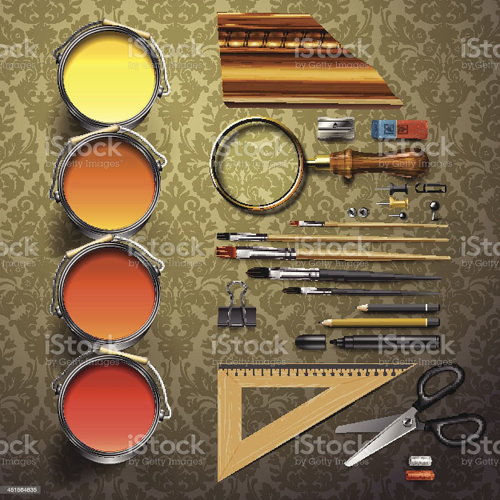 Group art supplies royalty-free stock vector art