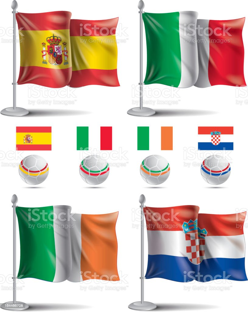 EURO 2012 Group C. Flags icons royalty-free stock vector art